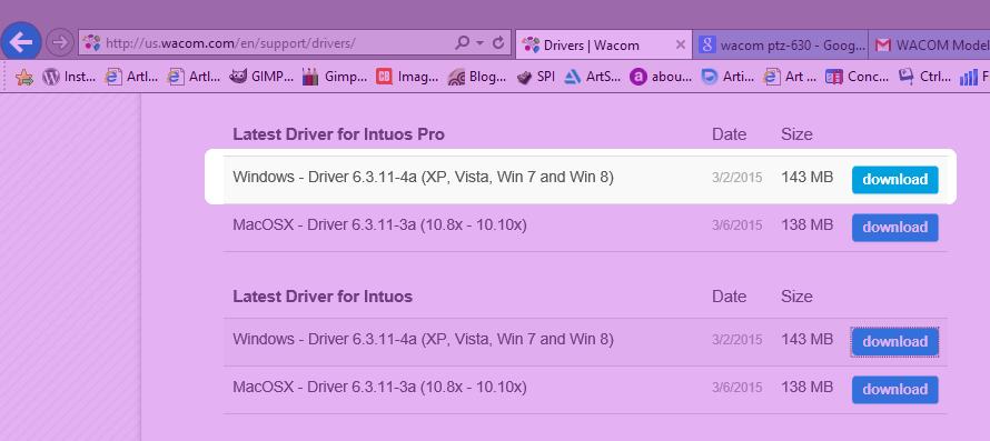 download wacom driver ptz-630