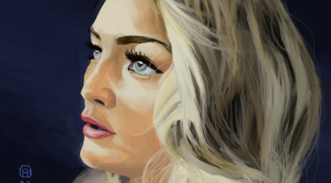 Digital Painting of a Blonde Girl on a Dark Blue Background