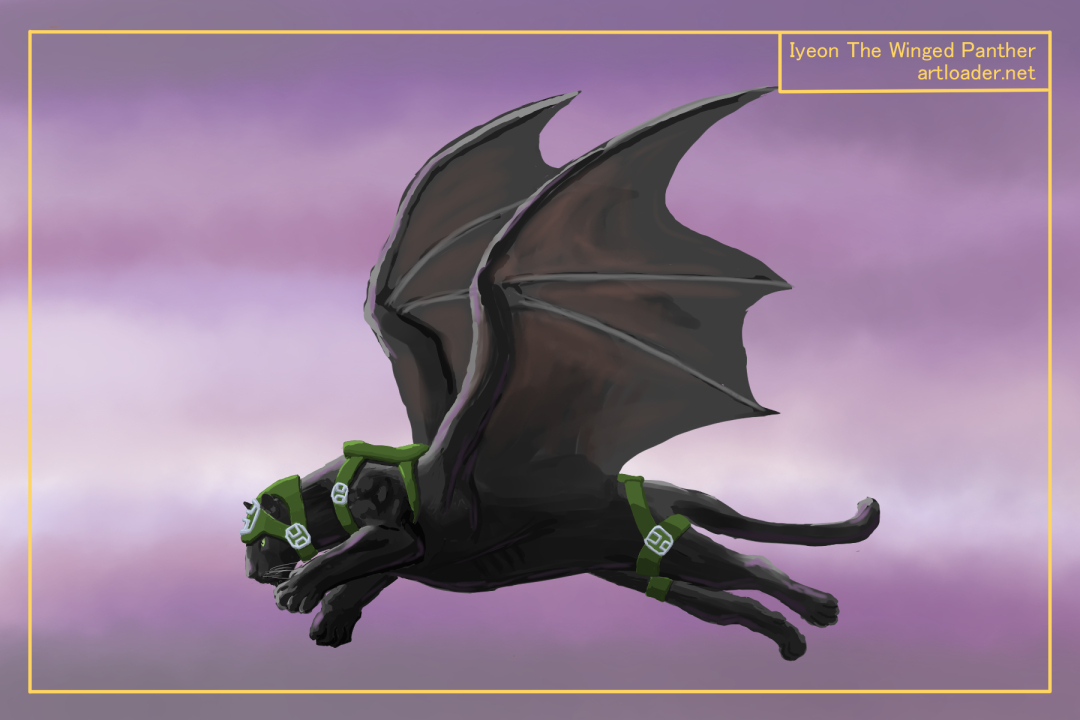 Winged Panther Digital Painting 1E