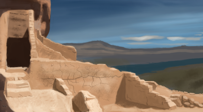 Sandstone Ruins Digital Painting In Gimp