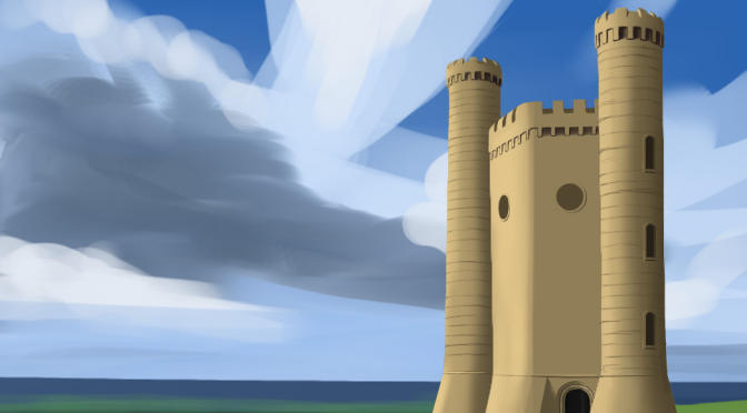Stone Building Digital Painting – Work In Progress 1