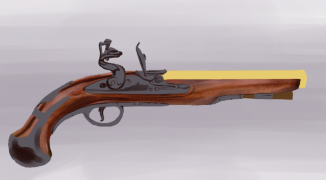 Flintlock Pistol Digital Painting Part 1