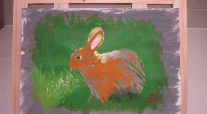 My First Acrylic Painting: Rabbit In The Grass