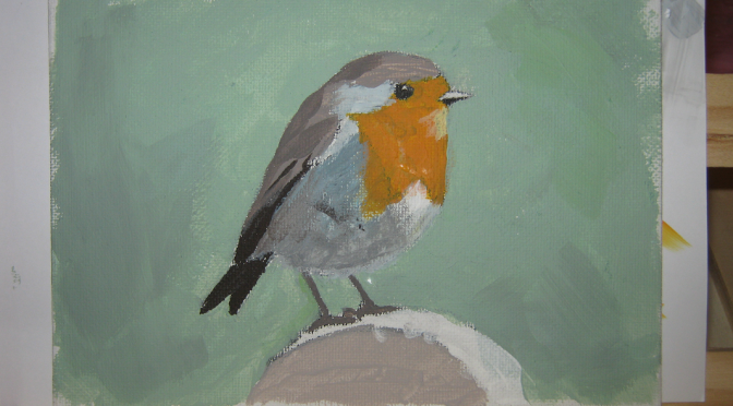 Acrylic Painting 4: Learning How To Mix Paint With A Robin Red Breast